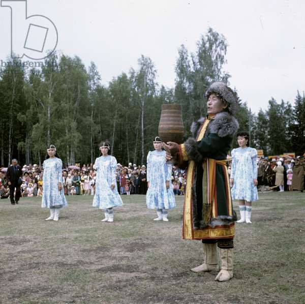 Dancers perform at the opening of the national Yakut festival Ysyakh, Russia, 1986 (photo)