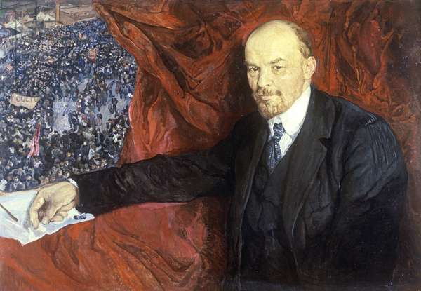 Vladimir Ilyich Lenin (1870-1924) and a Demonstration, 1919 (oil on canvas)