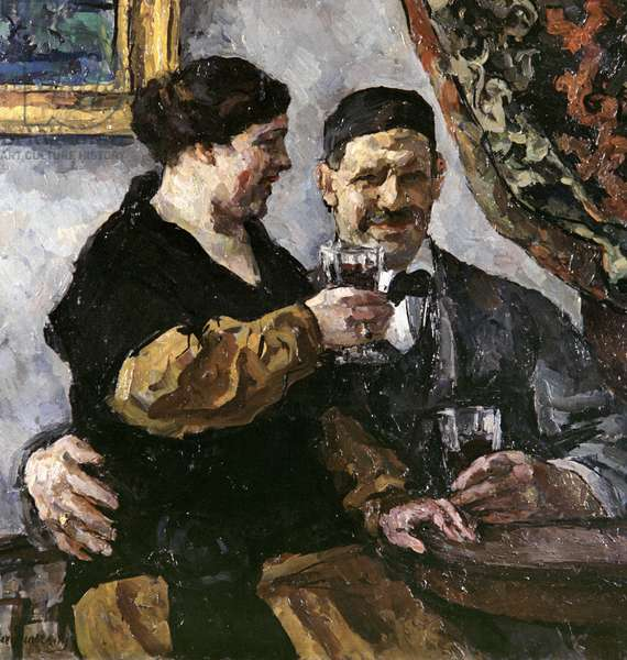 Self Portrait with with wife, 1923 (oil on canvas)