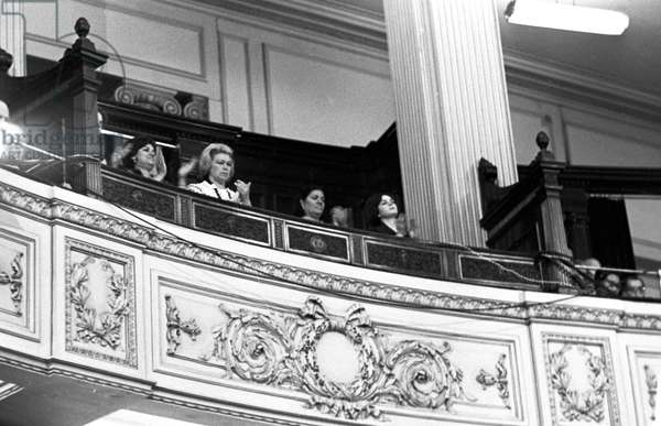 The visit of the of the USSR Council of Ministers Chairman Alexei Kosygin to the United Arab Republic. Alexei Kosygin's wife Klavdia Kosygina and UAR President Gamal Abdel Nasser's wife Tahia Kazem in the Congress box, 1966 (b/w photo)