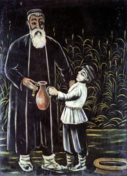 Peasant with Grandson, 1908 (oil on rubber sheet)