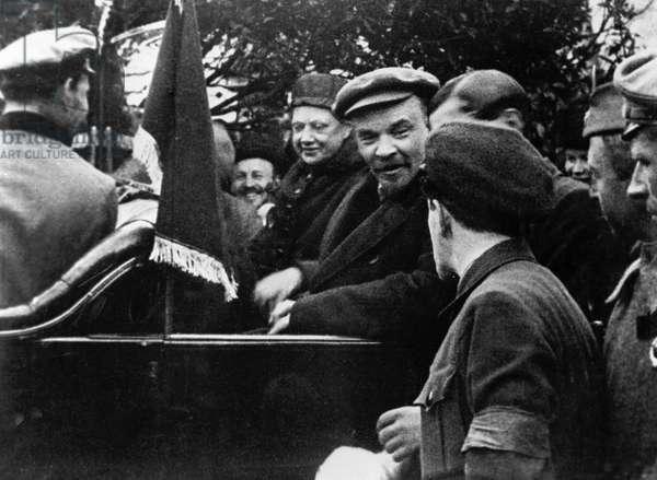 Lenin and Krupskaya, 1919 (b/w photo)