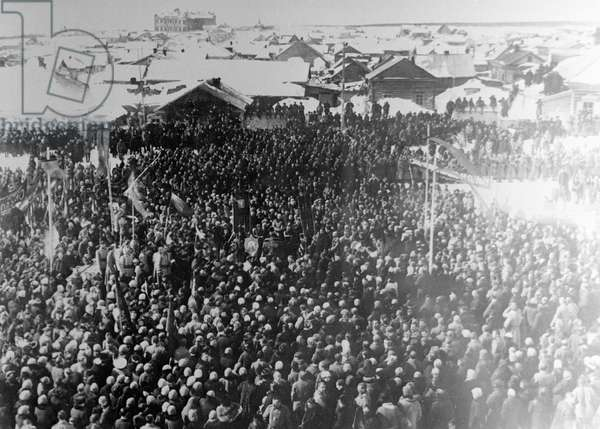 Rally In Honor of October Revolution's Victory, 1917 (b/w photo)