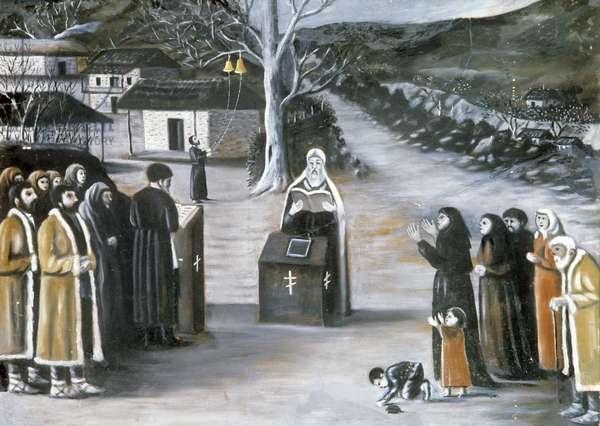 Public Prayer in a Village (oil on buckram)