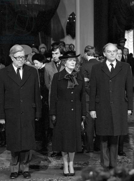 British Prime Minister Margaret Thatcher attending the funeral of Konstantin Chernenko, Moscow 1985 (photo)