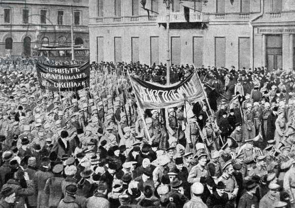 A soldiers' demonstration in Petrograd, 1917 (b/w photo)
