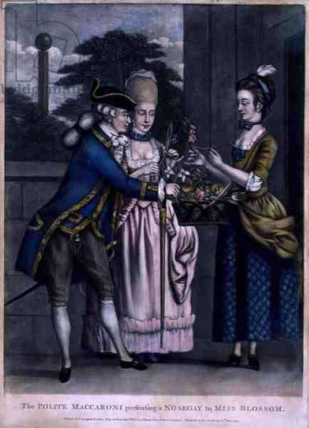 The Polite Maccaroni Presenting a Nosegay to Miss Blossom, pub. by Carington Bowles (fl.1744-93), 1772 (mezzotint engraving)