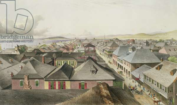 City of Kingston from the Commercial Rooms, Looking Towards the West, plate 20 from 'West Indian Scenery: Illustrations of Jamaica', engraved by the artist, pub. 1838-40 (colour litho)