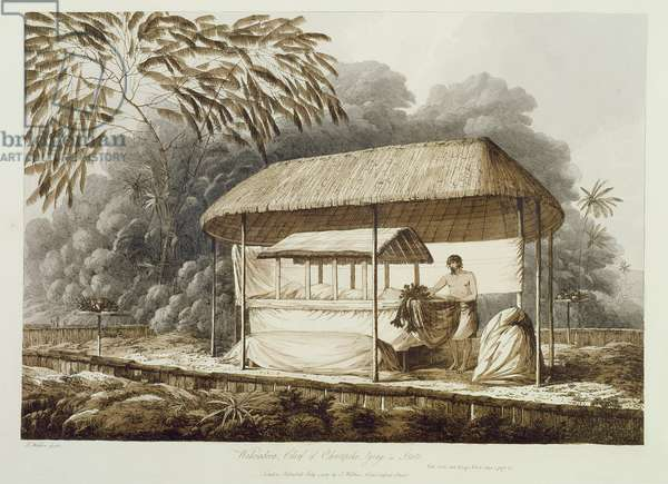 Waheiadooa, Chief of Oheitepeha, Lying in State, from 'Views in the South Seas', pub. 1789 (etching)