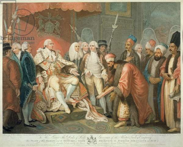 His Majesty and Officers of State Receiving the Turkish Ambassador and Suit, engraved by Daniel Orme (1767-p.1832), pub. by Edward Orme, 1797 (stipple engraving)