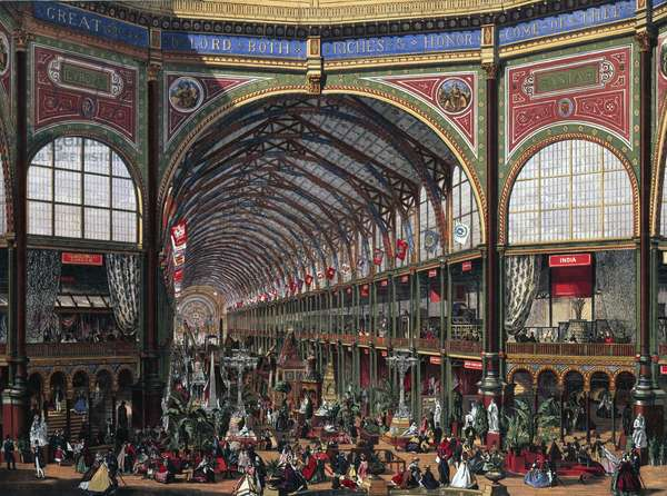 The International Exhibition: The Nave Looking West, from 'The Illustrated London News', printed by the Leighton Brothers, 24th May 1862 (chromolitho)