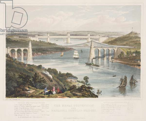 The Menai Suspension and the Britannia Tubular Bridges, c.1855 (colour litho)