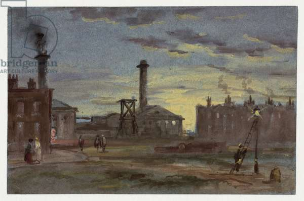 Gasworks at Sunset, c.1850 (gouache on paper)
