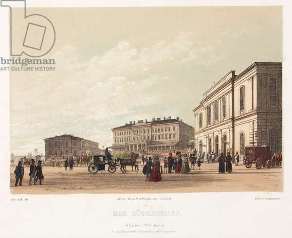 Vienna South Railway Station (colour litho)