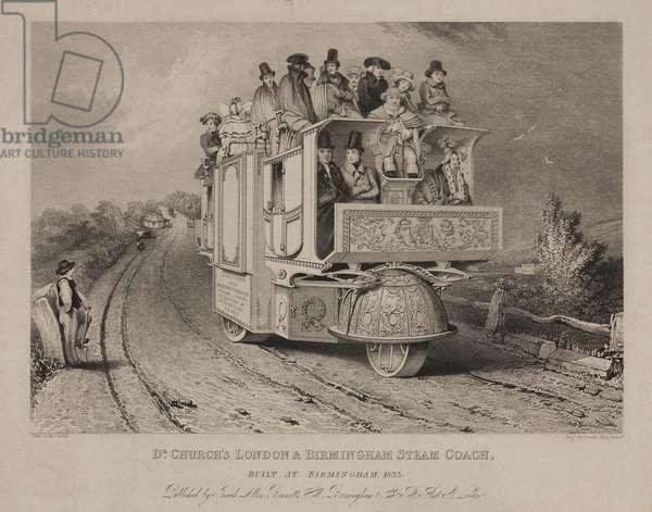 Dr. Church's London & Birmingham Steam Coach, 1833 (colour litho)