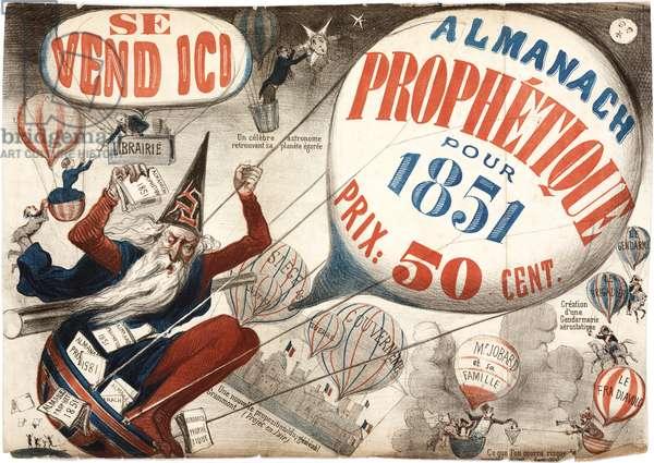 Poster advertising the 'Almanach Prophetique', 1851 (colour litho)
