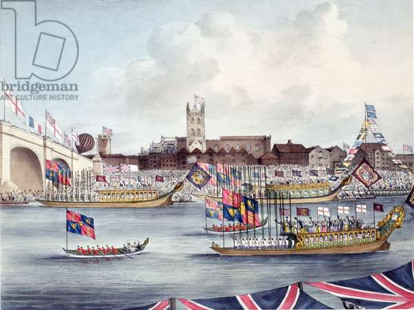 The Opening of New London Bridge, 1st August 1831 (colour litho)