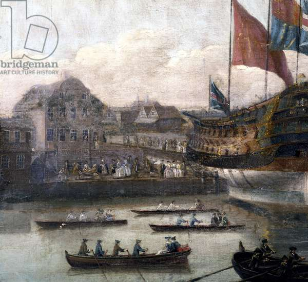 Launch at Deptford Dockyard, c.1750 (oil on canvas) (detail of 264190)