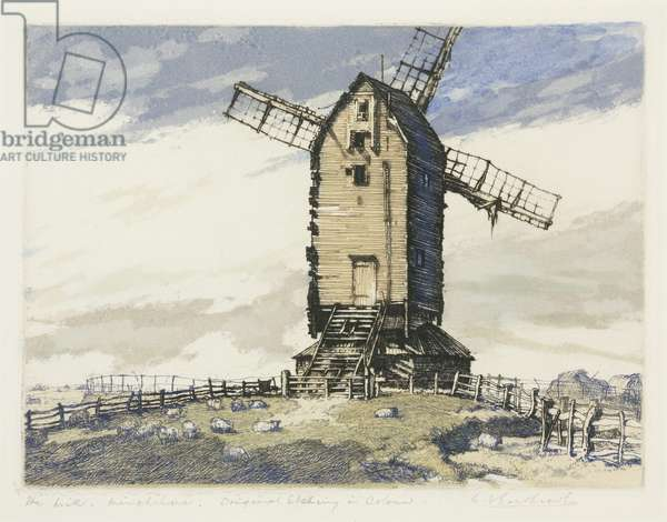 Windmill, Winchelsea, East Sussex (coloured mezzotint)