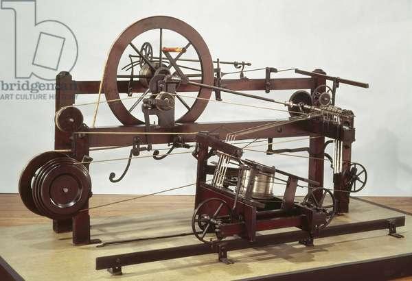 Replica of the spinning mule frame invented by Samuel Crompton (1753-1827) in c.1772-79 (wood & metal)