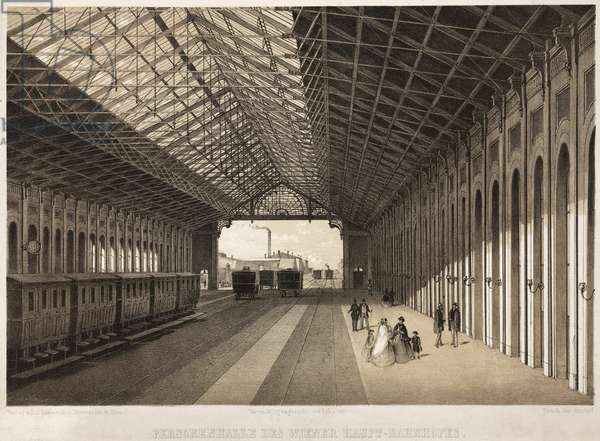 Interior of the Central Railway Station, Vienna (litho)