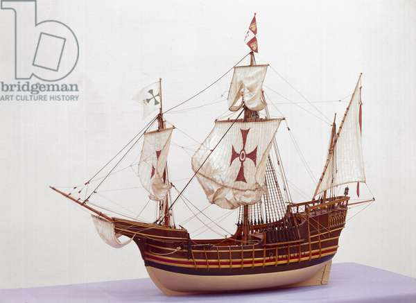 1:20 scale rigged model of the 'Santa Maria' (wood) (see also 3225)