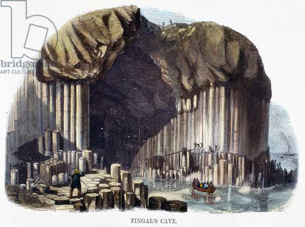Fingal's Cave, from 'Phenomena of Nature', 1849 (coloured engraving)