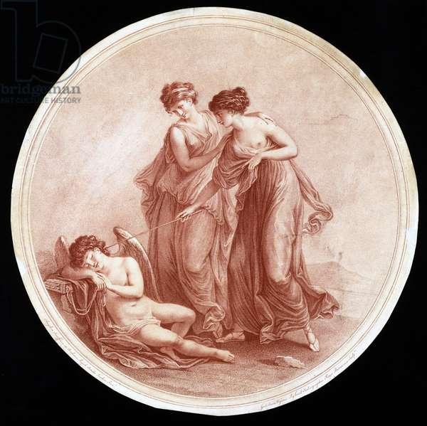 Graces Awakening Cupid, engraved by William Wynne Ryland (1732-83) 1776 (red stipple engraving)