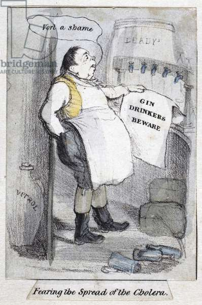 Fearing the Spread of the Cholera, 1840-50 (colour litho)