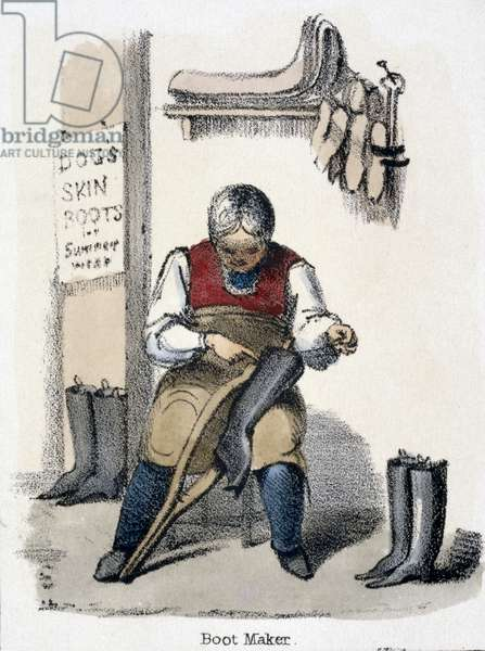 The Boot Maker, from 'The Dog' in 'Graphic Illustrations of Animals - Showing Their Utility to Man in Their Employment During Life and Uses After Death', c.1845 (colour litho)