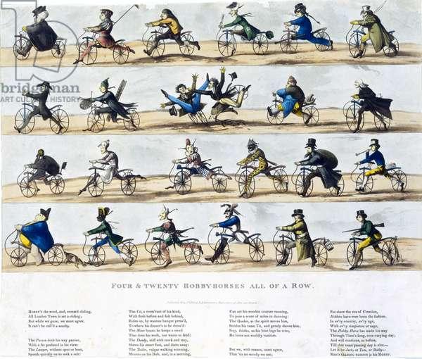 Four and Twenty Hobby Horses All of a Row, 1819 (coloured aquatint)