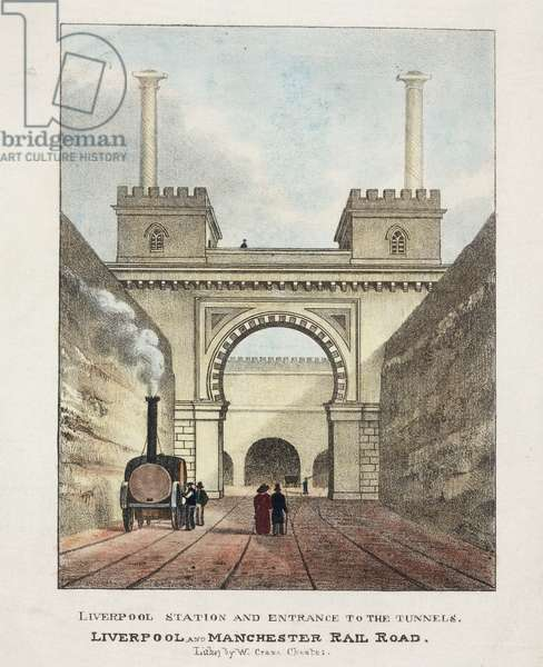 Liverpool Station and Entrance to the Tunnels, 1831 (colour litho)