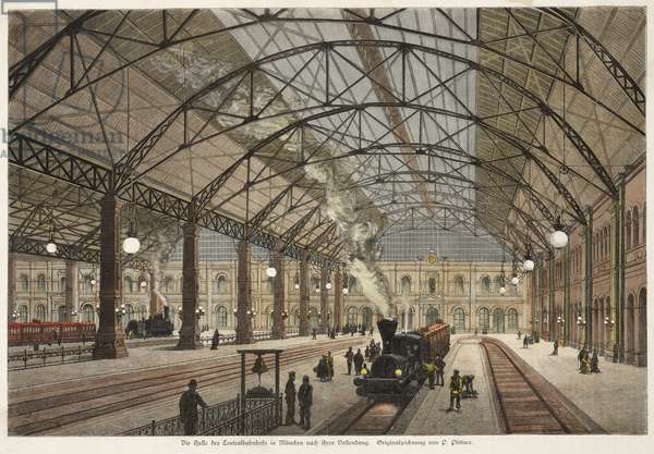 View of the Hall of the Central Station, Munich (coloured engraving)