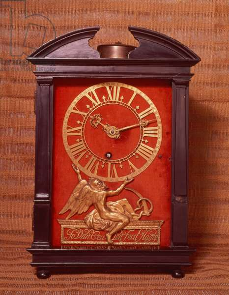 Early weight driven pendulum clock, possibly designed by Christian Huygens (1629-95) c.1675 (wood) (see also 260987)