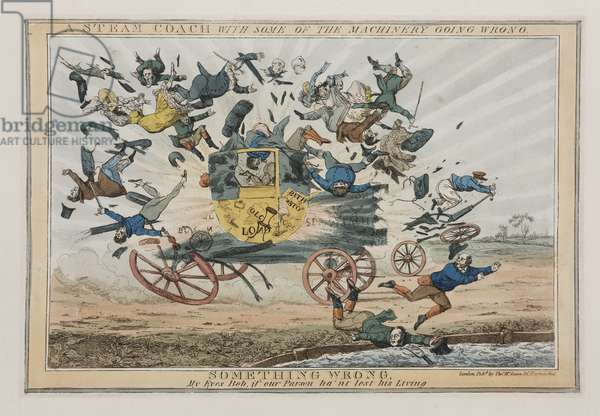 A Steam Coach with Some of the Machinery Going Wrong, c.1825 (coloured engraving)