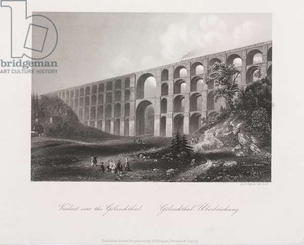 Viaduct Over the Golzschthal, Saxony, c.1840 (engraving)