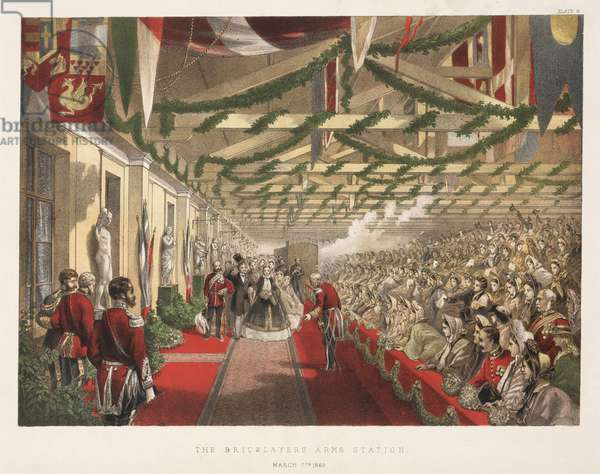The Arrival of Princess Alexandra (1855-1925) at the Bricklayers' Arms Station, 7th March 1863 (colour litho)