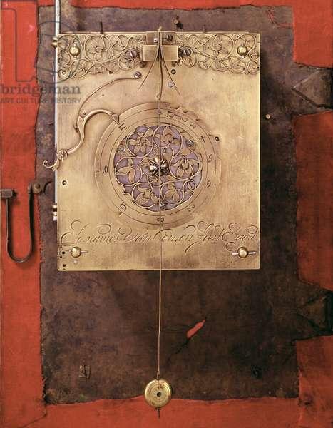 Early weight-driven pendulum clock, detail of chime control mechanism, built by Johannes van Ceulen