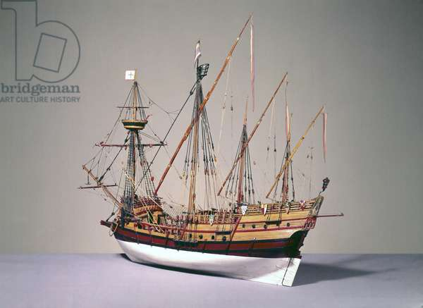 Rigged model of a Portuguese caravela from c.1535 (wood) (see also 3236)