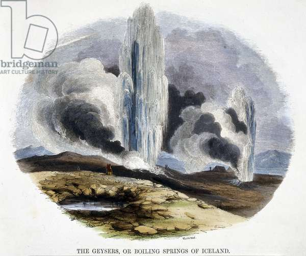 The Geysers, or Boiling Springs of Iceland, from 'Phenomena of Nature', 1849 (coloured engraving)
