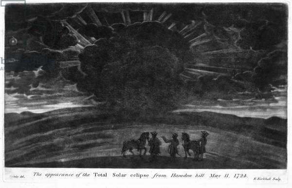 The Appearance of the Total Solar Eclipse from Haradon Hill, 11th May 1724, engraved by E. Kirkhall (mezzotint)