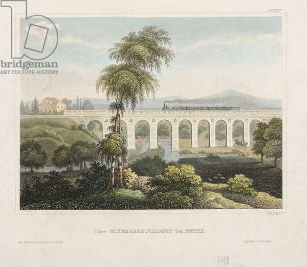 Railway Viaduct at Gotha, engraved by B. Metzeroth, 1848 (coloured engraving)