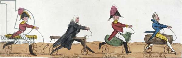 Professional men riding hobby horses, c.1820 (coloured engraving)
