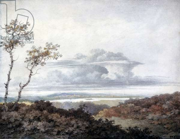 Rural landscape with later cloud studies by Luke Howard (1772-1864) c.1808-11 (w/c on paper)