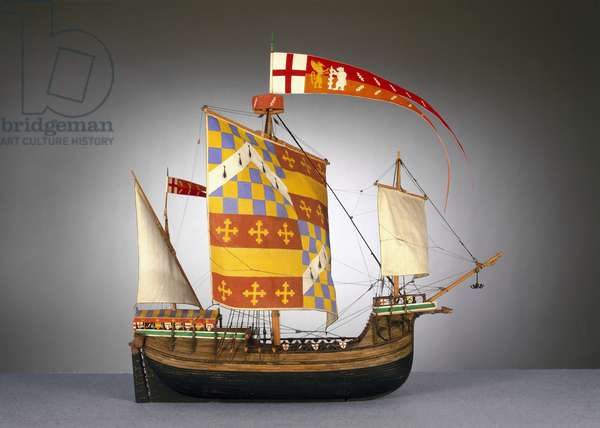 Model of a large English ship, or 'cog' of c.1485 (mixed media)