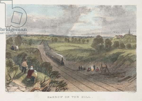 Harrow on the Hill, engraved by W. Radclyffe (coloured engraving)