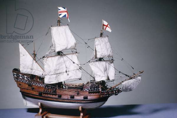 1:60 scale model of the 'Mayflower' of 1620 (wood) (see also 3220)