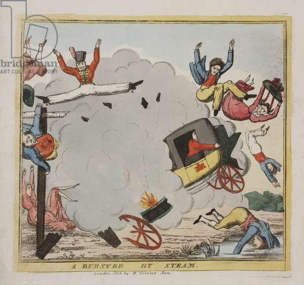 A Burster by Steam, c.1835 (coloured etching)