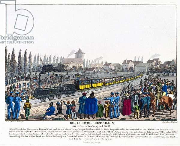 The Opening of the Nuremburg-Furth Railway, 7th December 1835 (coloured engraving)