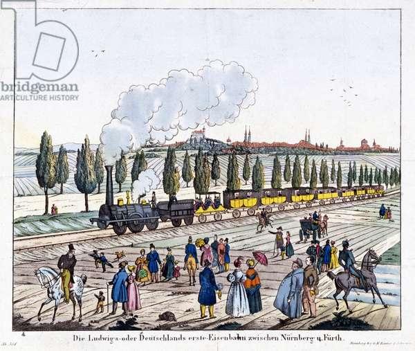 Opening of the Nuremburg-Furth Railway, 7th December 1835 (coloured engraving)